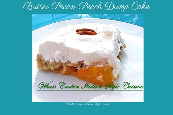 this is how to make a dump cake. This cake is made with a cake mix using butter pecan cake mix. Then it has peach pie filling and the topping is real whipped cream. This is the perfect summer dessert for any picnic outing and it is served on a white plate.
