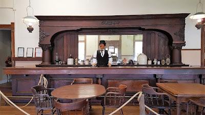 A bartender at the Pecos Texas Saloon.