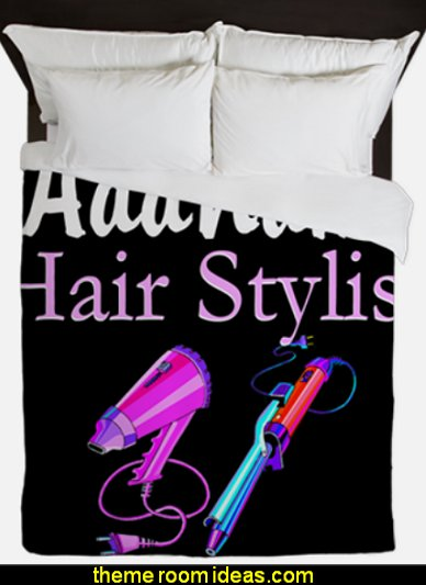 SNAZZY HAIR STYLIST Queen Duvet  beauty salon theme bedroom ideas - Hair Salon theme decorating ideas - Beauty Salon Decor Ideas - Beauty salon themed bedroom - decorating ideas beauty salon theme - Makeup Room Decor