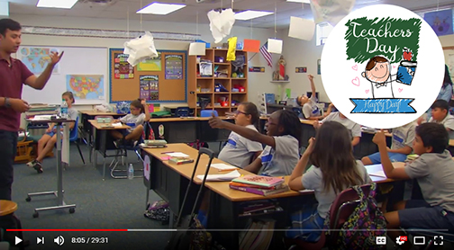 Snapshot from mctv115 profile of Audrain teaching in a classroom.
