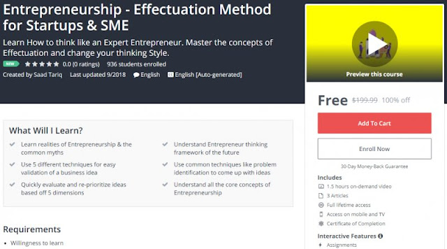 [100% Off] Entrepreneurship - Effectuation Method for Startups & SME| Worth 199,99$