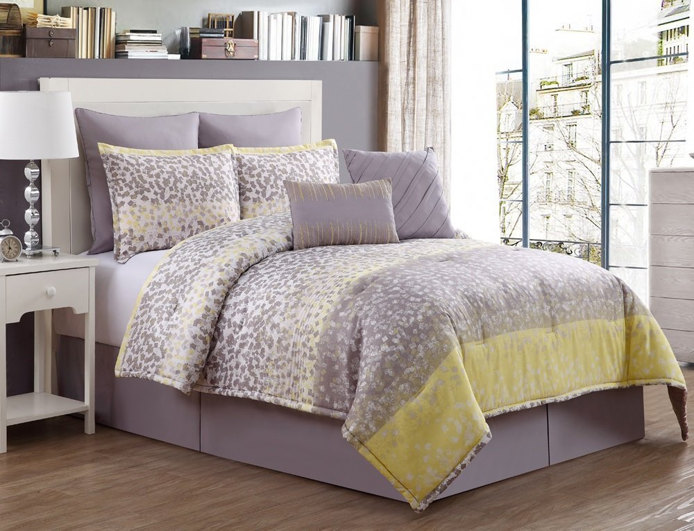 Yellow And Grey Comforter Sets And Bedding