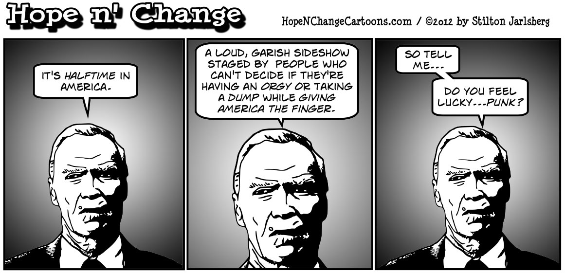 Clint Eastwood says that it's halftime for an America which is totally screwed, hopenchange, hope n' change, hope and change, stilton jarlsberg, tea party, political cartoon