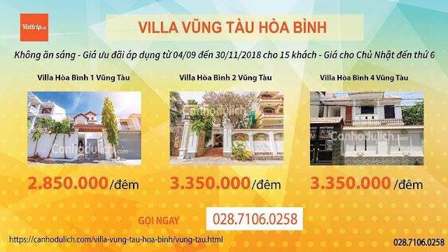 Khuyến mãi villa Hòa Bình Vũng Tàu
