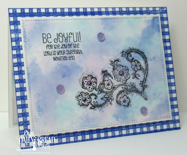 ODBD Be Joyful, ODBD Gingham Background, ODBD Custom Pierced Rectangles Dies, Card Designer Angie Crockett