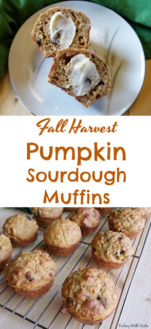 There is a lot of fall flavor packed into these muffins! Apples, pumpkin and cranberries join forces with sourdough to bring you surprisingly healthy but still deliciously tender muffins.
