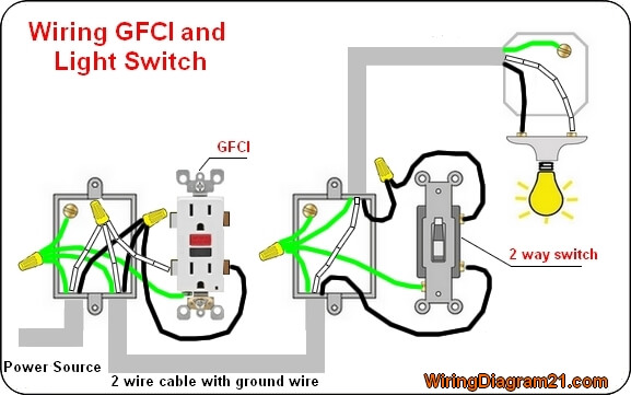 gfci outlet electrical wiring diagram with light 2 way switch