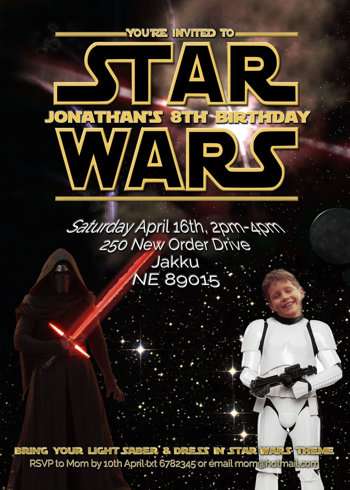 Free Kids Party Invitations Star Wars Party Invitation Self Edit