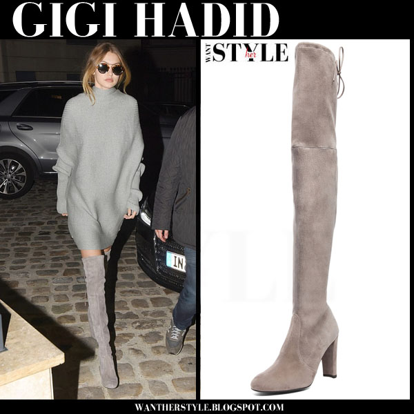 87939834d68 Gigi Hadid in grey oversized sweater and grey stuart weitzman hgihtland  suede boots what she wore