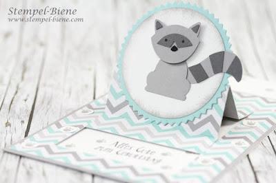 Bloghop Tierisch; Waschbärenstanze, Aufstellkarte Geburtstag; Stempelnddurchsjahr; Stempel-Biene; Aufstellkarte Anleitung; Fox & Friends Stampin Up