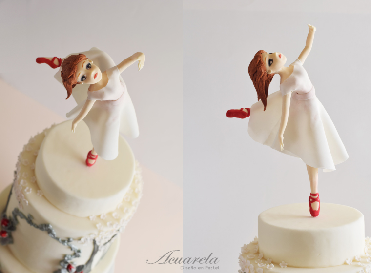 Red shoes ballet dancer cake