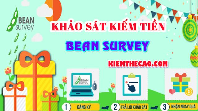 Bean survey, bean survey kiếm tiền, khảo sát kiếm tiền bean survey, beansurvey kiem tien, kiếm thẻ cào