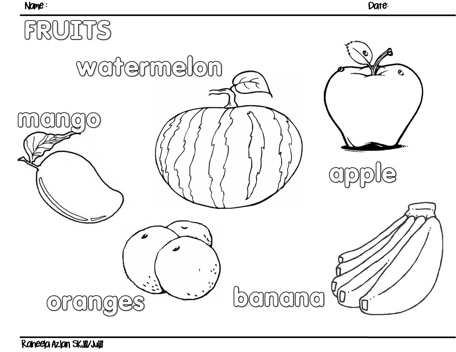 Cikgu Eela Il Preschoolers Pce Fruits Worksheet