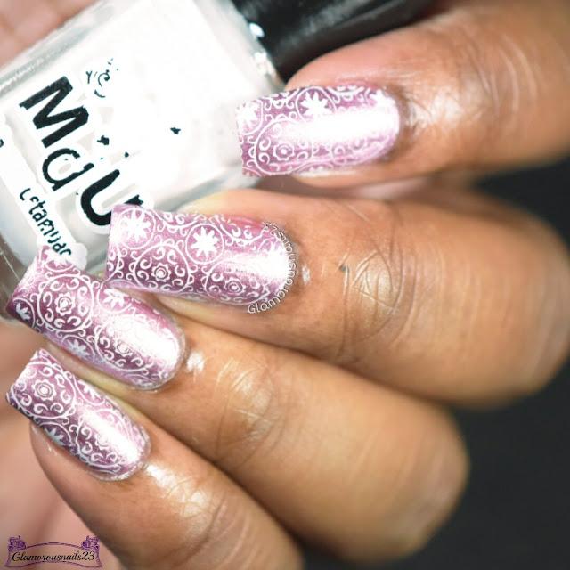 Pink Satin & White Stamping