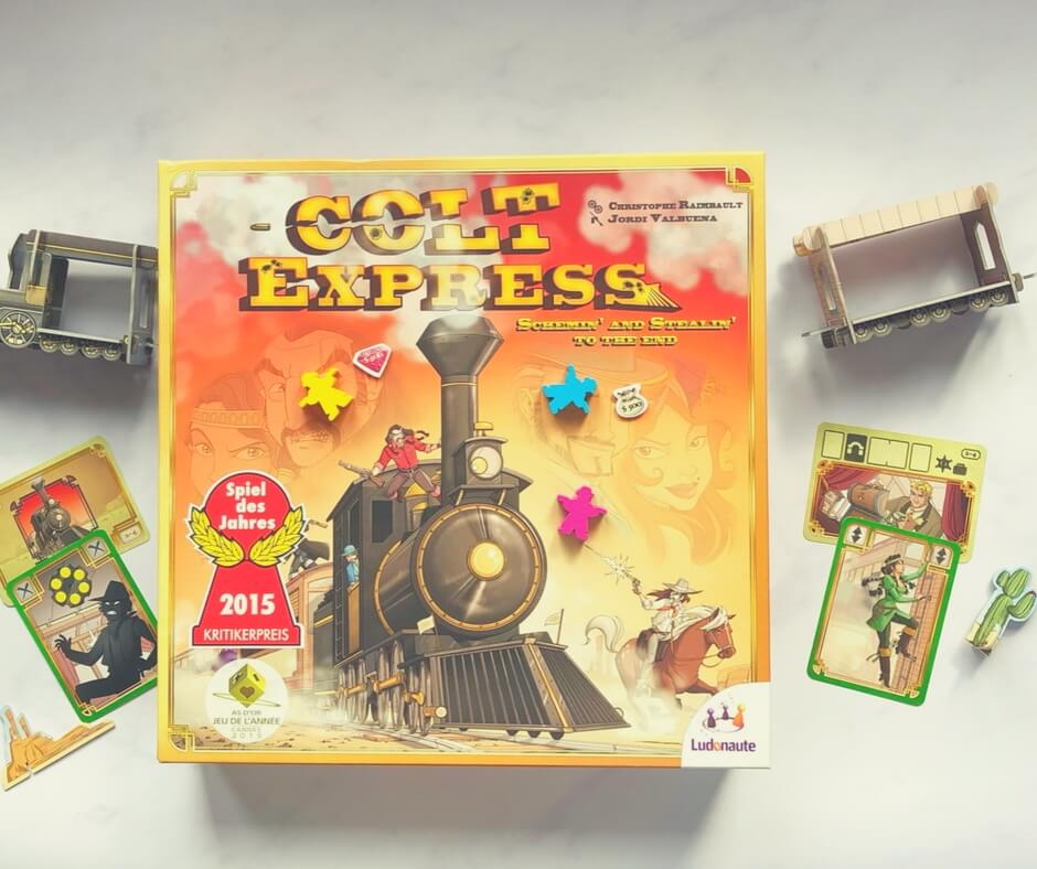 Colt Express game box with train on either side of the box.