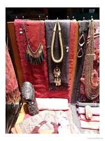 Pink and brown accessories - scarves, jewelry and shoes - in the Diwali shop windows in Paris