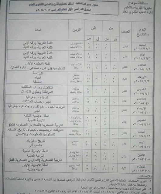 جداول امتحانات آخر العام الترم الثاني محافظة سوهاج جميع الصفوف 2018