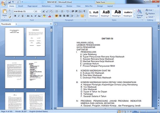 Contoh RKM/S dan RKT untuk MI/SD Terbaru Format Microsoft Word