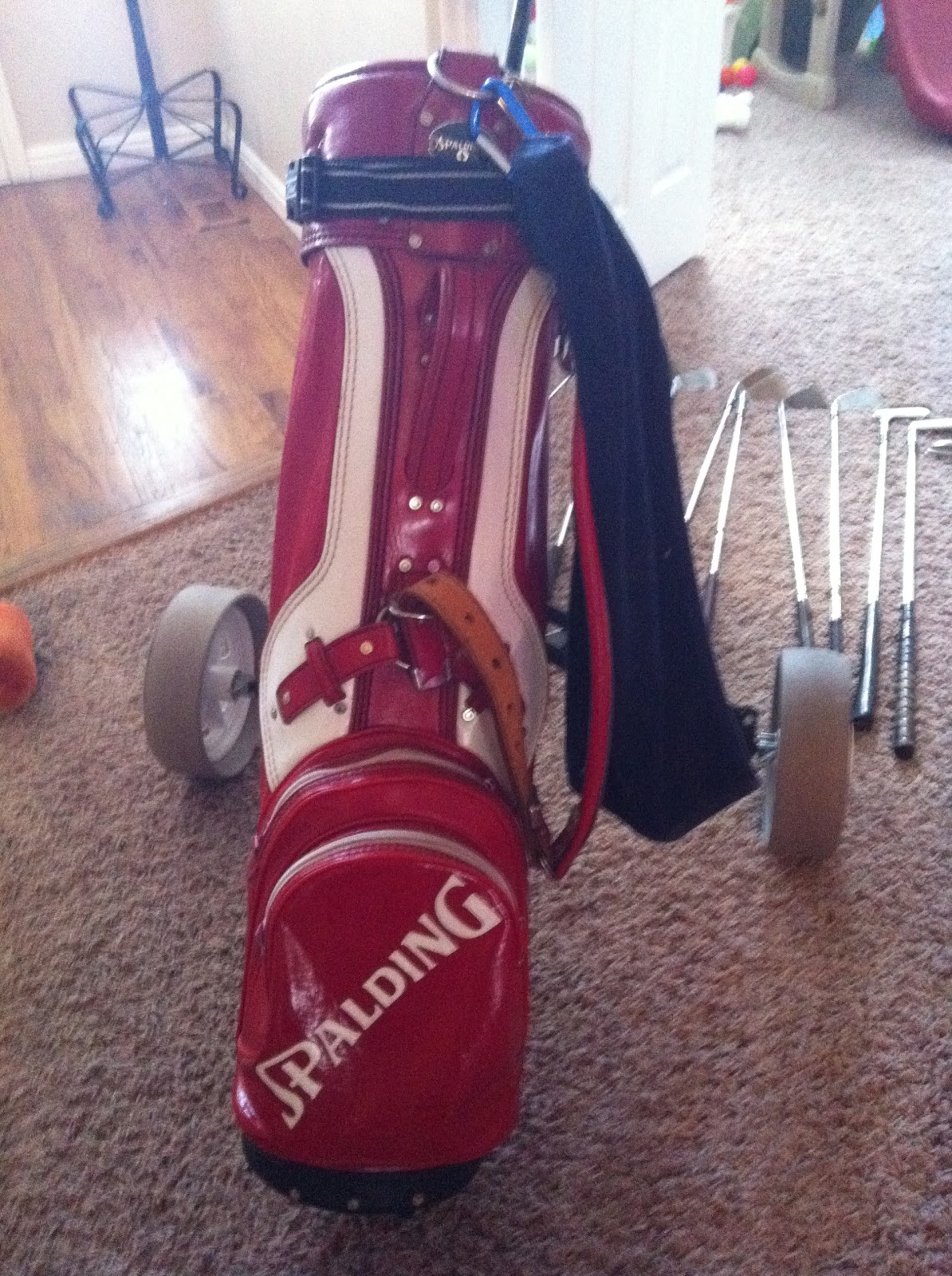 2 Chair Bistro Set Small Folding Camping Online Yard Sale: Vintage Spalding Red Leather Golf Bag And Cart