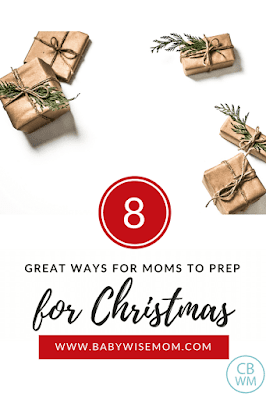 Eight steps to take to prep for Christmas. Get your gifts organized, get the Christmas spirit in your home, decorating your tree, teaching about Jesus Christ, decorating your home intentionally, what to do about Santa, and balancing family members.