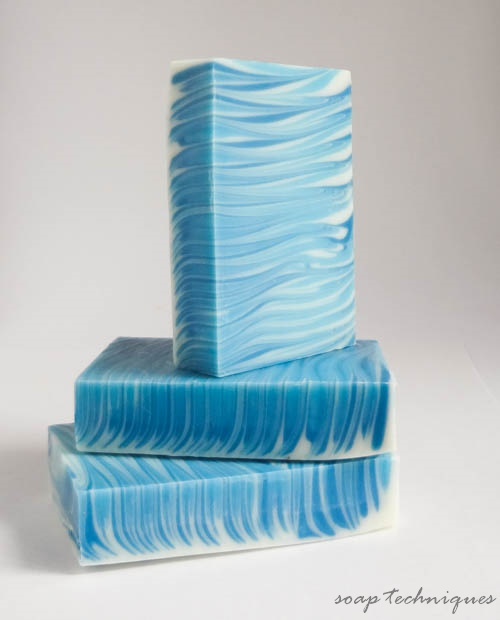 handmade soap - blue & white stripes