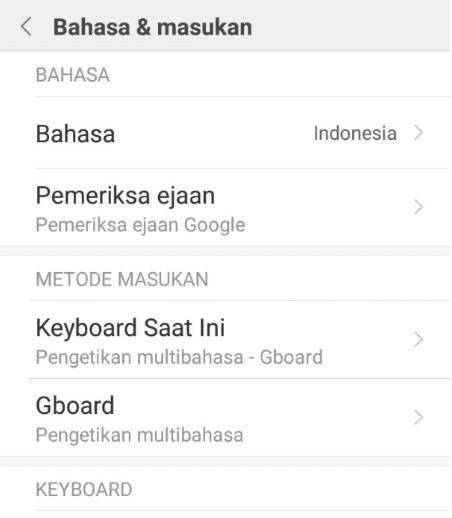 Setting Pilih Keyboard Baru Xiaomi