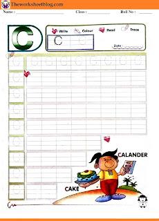 Alphabet C tracing worksheet