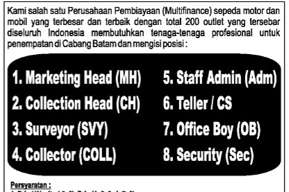 Lowongan Kerja PT. BESS FINANCE CABANG BATAM