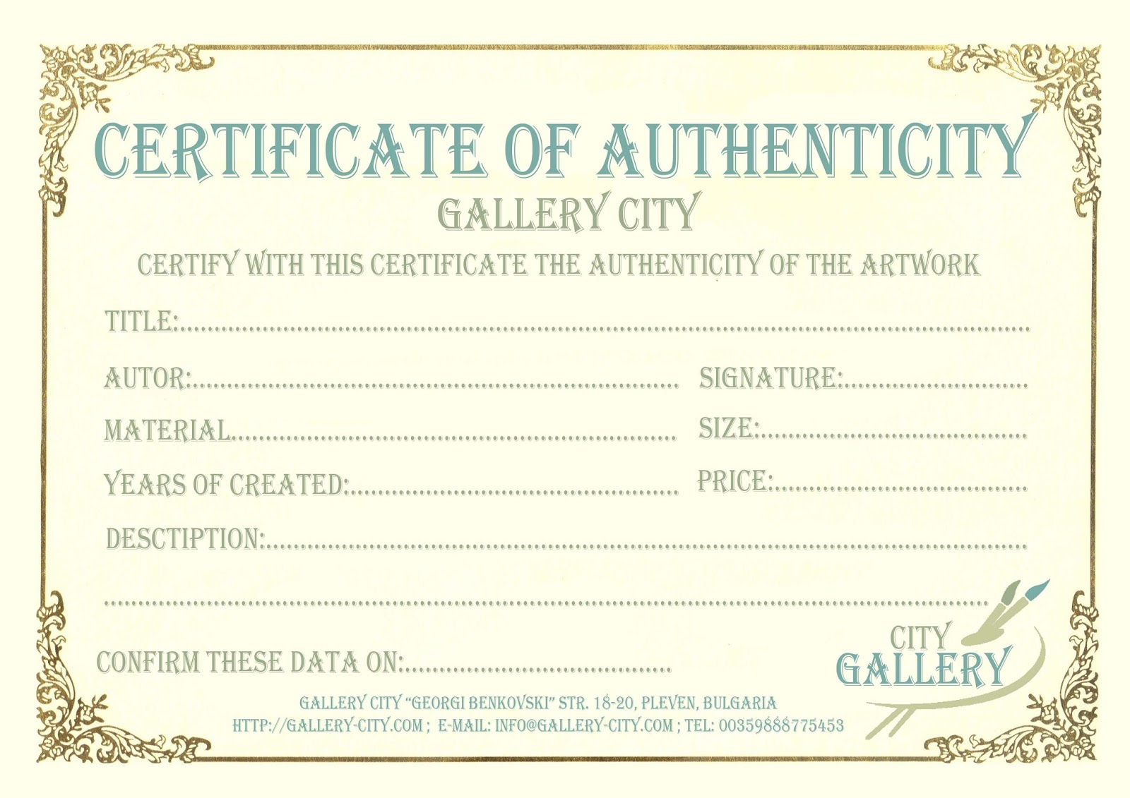 statement of authenticity template - certificate of authenticity for artwork free download