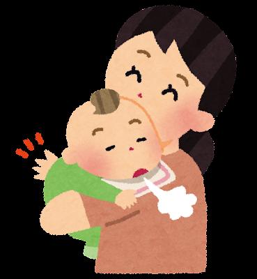 赤ちゃんにゲップをさせているお母さんのイラスト