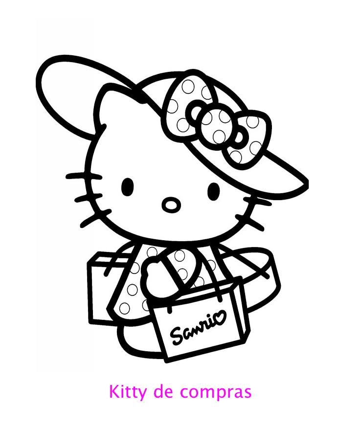 Colorea A Kitty De Compras Locos Por Hello Kitty