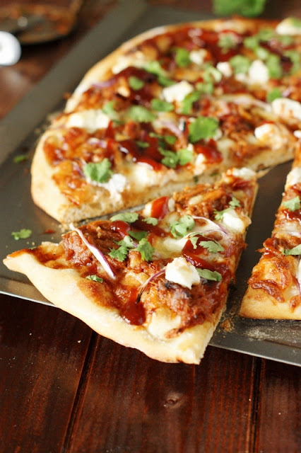 Sweet-&-Spicy Pulled Pork BBQ Pizza   www.thekitchenismyplayground.com