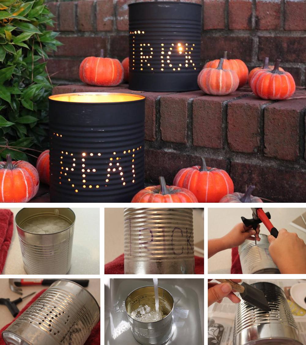 diy para decorar en halloween con latas de conserva terroríficas para exterior e interior fácil y económico
