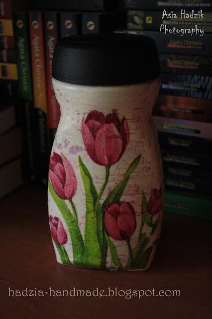 606. Tulipanowy słoik decoupage
