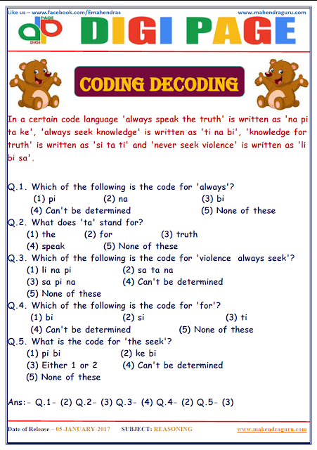 DP | CODING DECODING | 5 - JAN - 17