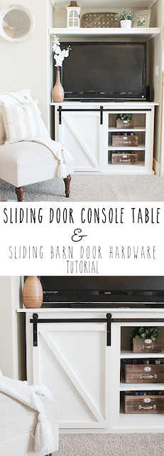 DIY grandy sliding door console table or entertainment center. DIY barn door hardware tutorial. Farmhouse decor and decorating ideas. How to decorate around a TV. Fixer upper decor