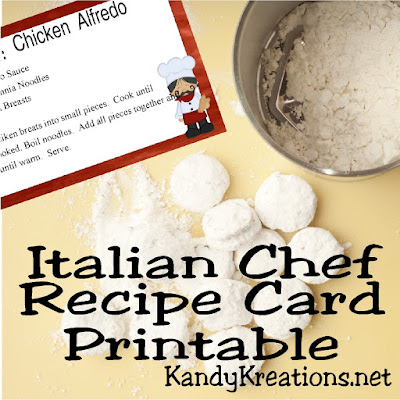How fun this Italian Chef recipe card printable is to help get organized in the kitchen.  It's available in two sizes and the super cute Italian chef just makes me want to use and enjoy this card while cooking up a storm.