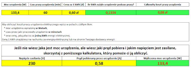 """Koszt pracy instalacji wentylacji mechanicznej na biegu """"2"""" w ciągu jednej godziny"""