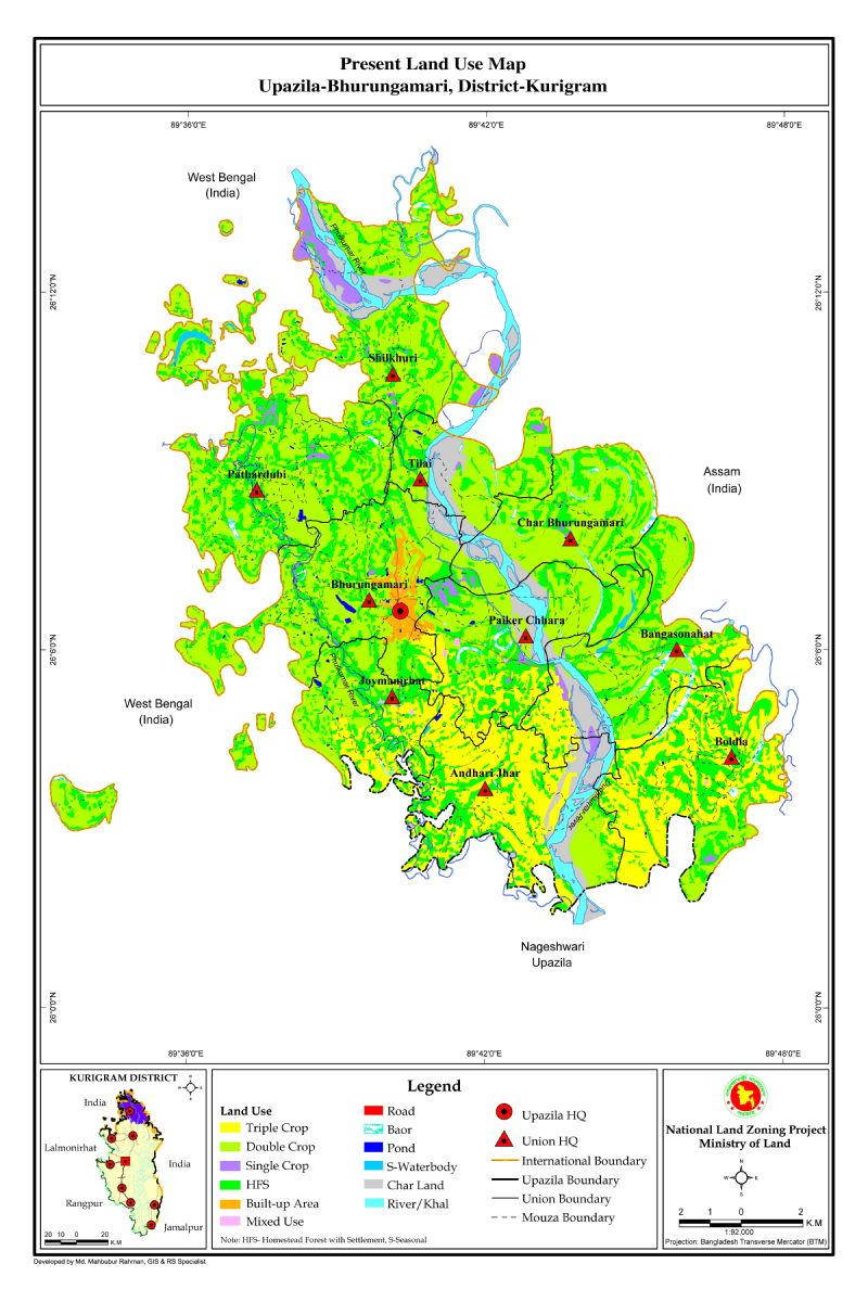 Bhurungamari Upazila Mouza Map Kurigram District Bangladesh