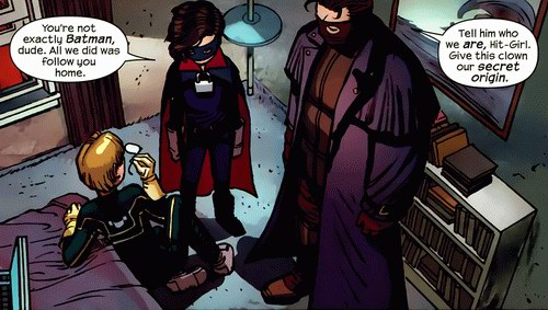 Big Daddy tells Hit-Girl to tell Kick-Ass who they are