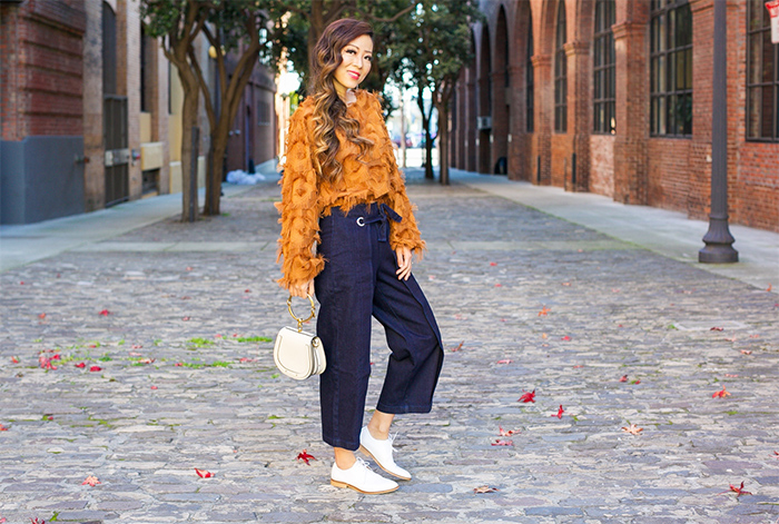 fringe top, topshop wide leg jeans, baublebar hoop earrings, chloe nile bag, everlane loafers, san francisco fashion blog, spring outfit ideas