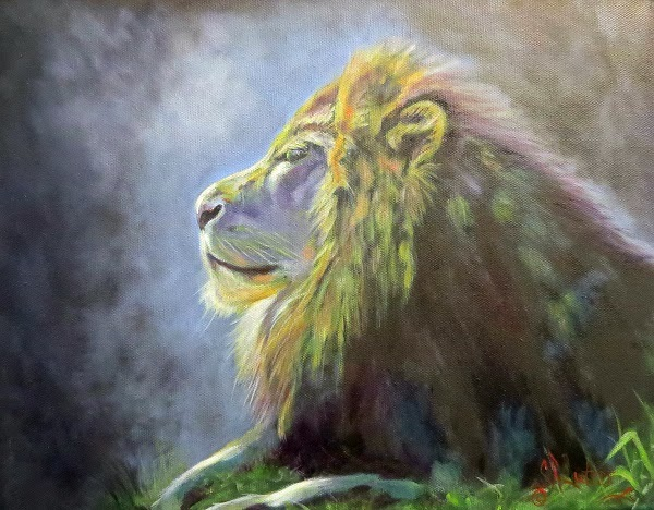 """Lying in the Moonlight"", original lion in oils on black canvas"