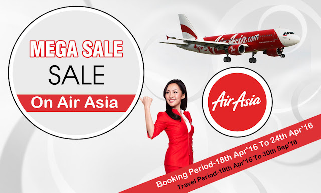 Mega Sale on Air Asia, domestic air ticket, international air ticket, hotel booking, tour packages and more...
