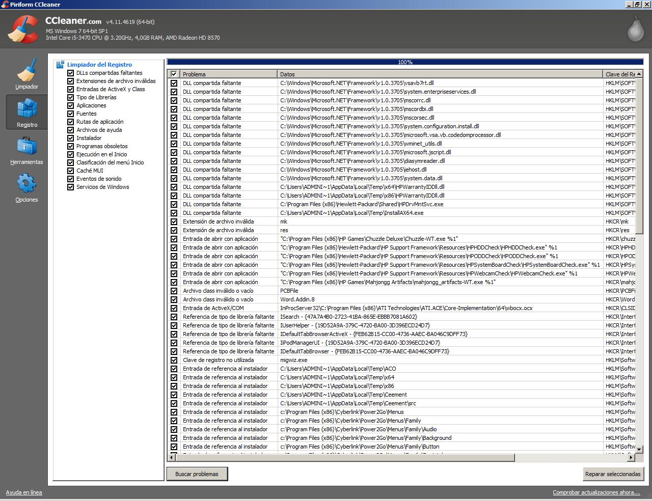 Buscar problemas del registro con CCleaner