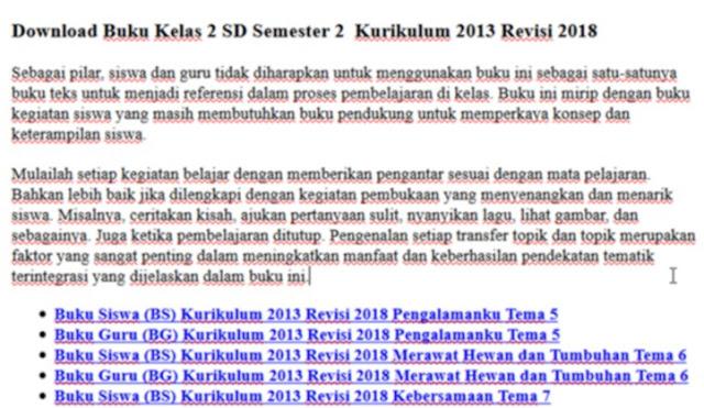 Buku Kelas 2 SD Semester 2 Kurikulum 2013 Revisi 2018