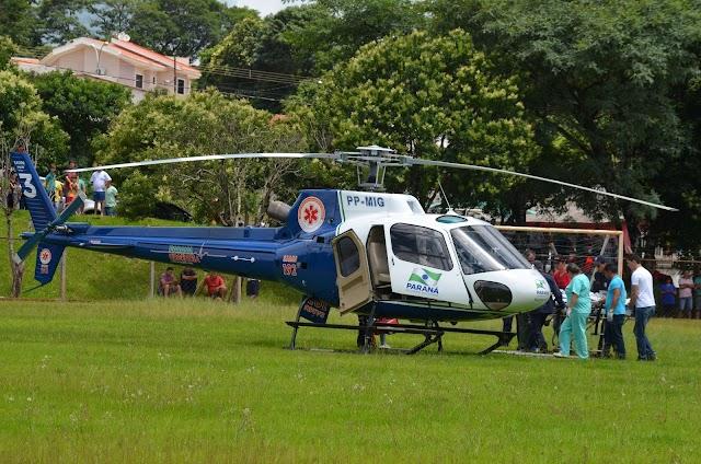 Jovem de Roncador sofre acidente e é socorrido por helicóptero do SAMU