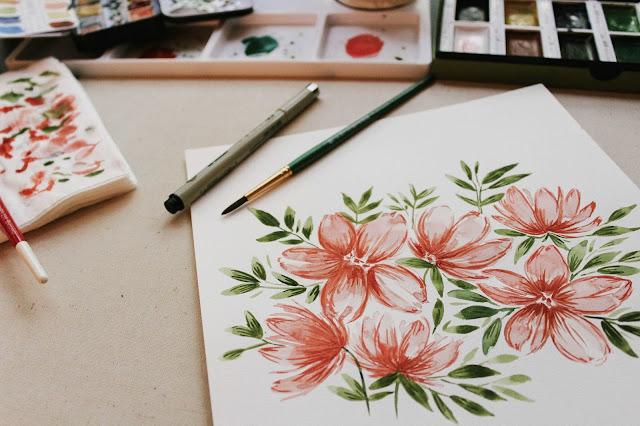 flores en acuarela, creatividad, dibujar e ilustrar, pinturas y creaciones