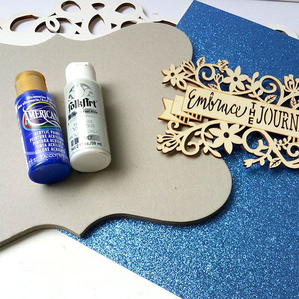 craft paint, laser wood, scrapbook paper