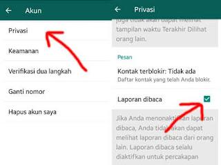 tutroial kedua menghapus tanda laporan dibaca pada whatsapp