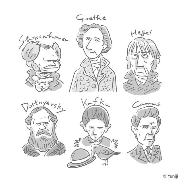 西洋の哲学者や作家の肖像イラスト